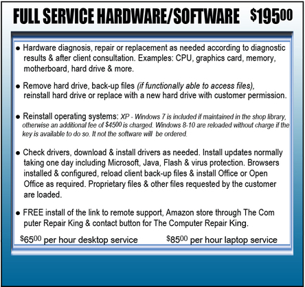 Repair Full Service Hardware/Software information