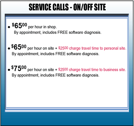 Repair Service Call On/Off Site information